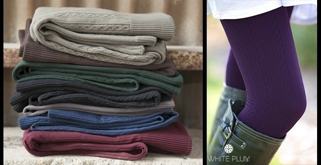 White Plum's Cable Knit Fleece Lined Leggings! 10 Colors Available!