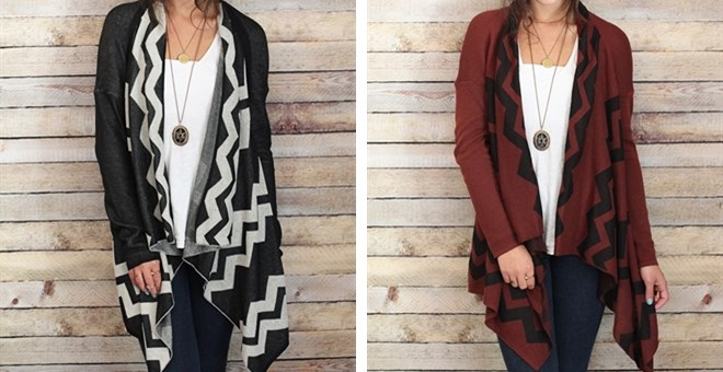 Chevron Draped Cardigan