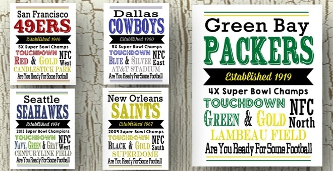 NFL Football Team Prints - All 32 NFL Teams Available