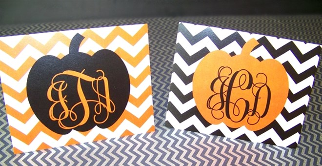 Pumpkin Monogrammed Notecards