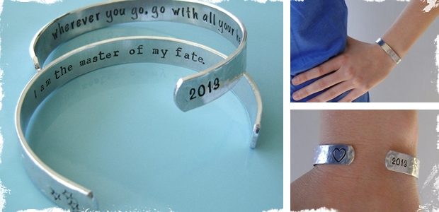 Secret Message Hand Stamped Cuff Bracelets