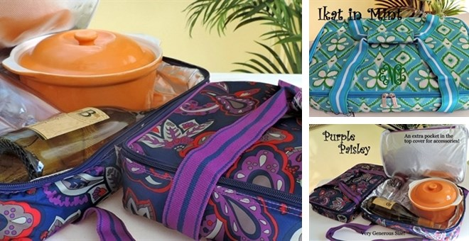 Extra Large Monogrammed Insulated  Casserole Carriers -  Quick Shipping! Perfect Gift !
