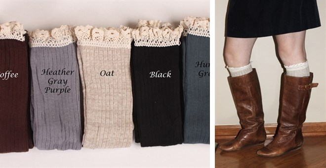 Lace Trim Boot Socks Lace Trim Knee High Boot Socks