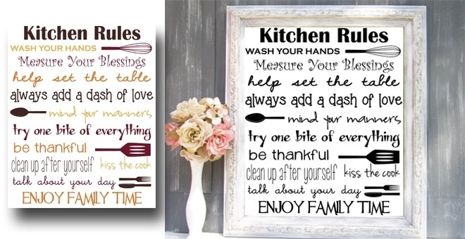 Kitchen Rules Printable Digital Jane