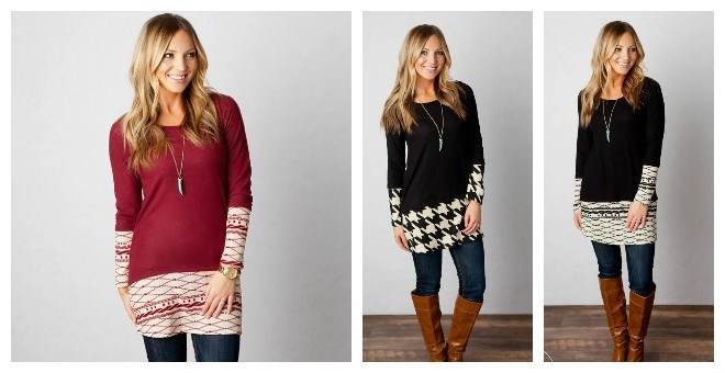 Contrast Sweater Tunic-