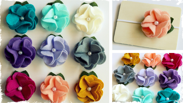 Set of 3 Beautiful Felt Flowers - You Choose Hardware! 9 Colors!