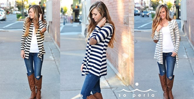 *HOT* Open Striped Cardigan w.