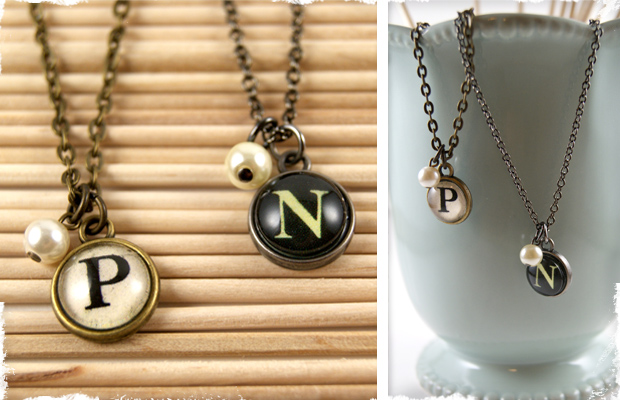 Classic Typewriter Key Initial Necklace - Choose Ebony or Ivory! Choose Your Initial!