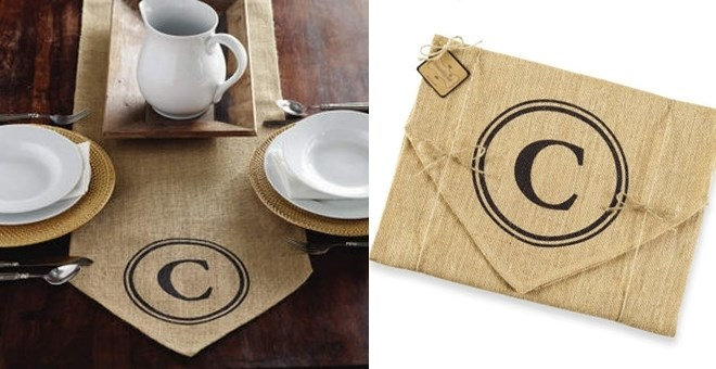 Burlap Monogram Initial Table Runner