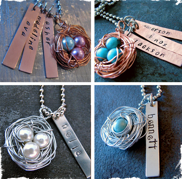 Beautiful Mama's Nest Necklace With Personalized Charms - In Time For Mother's Day!