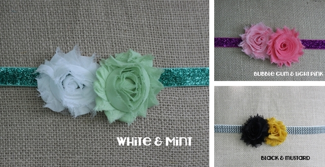 Customized Double shabby flower on Chevron or Glitter Headband!