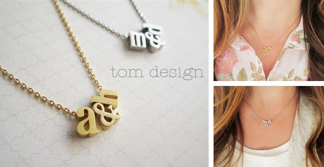 Tiny Gold or Silver Initial & Ampersand Necklace