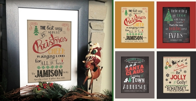 Personalized Christmas Prints on Burlap or Chalkboard!!!