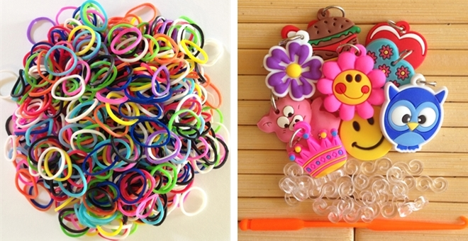 Loom Bands Set - 1,800 Glow in the Dark Jelly, Glitter, Assorted Colors, Charms, S-Clips and Hook.