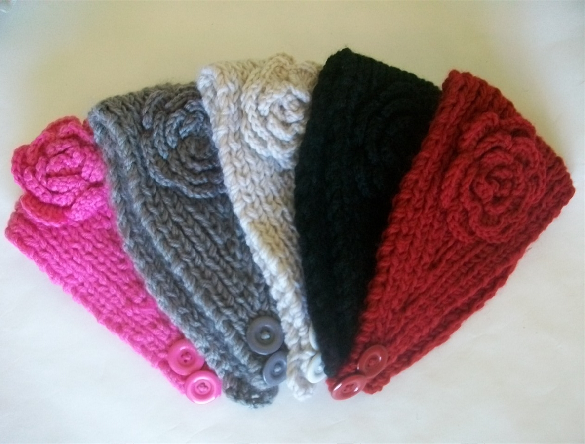 how to make crochet ear warmers with flower